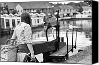 Boat Special Promotions - 10881 Girl at the Lock Canvas Print by Peter Dunn
