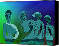 Glove Digital Art Canvas Prints - 154 - Odd Blue Ladies 2   Canvas Print by Irmgard Schoendorf Welch