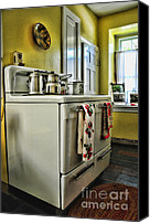 Pans Canvas Prints - 1950s Kitchen Stove Canvas Print by Paul Ward