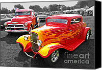 Monochrome Hot Rod Canvas Prints - 1954 Chevrolet with 1932 Ford Coupe Hot Rod Canvas Print by Gill Billington