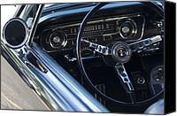 1965 Ford Mustang Canvas Prints - 1965 Shelby prototype Ford Mustang Steering Wheel 2 Canvas Print by Jill Reger