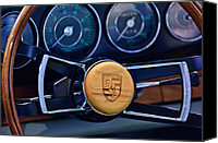 Porsche 911 Canvas Prints - 1967 Porsche 911 Coupe Steering Wheel Emblem Canvas Print by Jill Reger