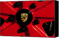 Porsche 911 Canvas Prints - 1973 Porsche 911 RS Wheel Emblem Canvas Print by Jill Reger