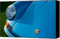 Porsche 911 Canvas Prints - 1973 Porsche 911 S Hood Emblem Canvas Print by Jill Reger