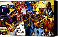 Signed Mixed Media Canvas Prints - B. One Jazz Band Canvas Print by Everett Spruill