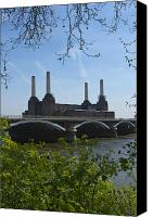 Battersea Canvas Prints - Battersea Power Station Canvas Print by David French