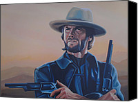 Paul Meijering Canvas Prints - Clint Eastwood  Canvas Print by Paul Meijering
