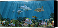 Whale Painting Canvas Prints - Fantasy Reef Canvas Print by Carey Chen