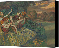 Performer Canvas Prints - Four Dancers Canvas Print by Edgar Degas