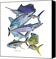 Guy Harvey Canvas Prints - Gamefish Collage Canvas Print by Carey Chen