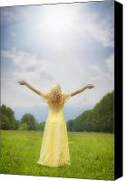 Praying Canvas Prints - Girl On Meadow Canvas Print by Joana Kruse