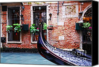 Gondoliers Canvas Prints - Gondola In Venice Canvas Print by Mel Steinhauer