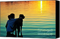 Dog Photo Canvas Prints - Island Canvas Print by Laura  Fasulo