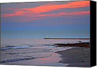 Important Canvas Prints - Lighthouse Sunset Canvas Print by Robert Harmon