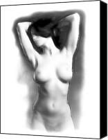 Posing Drawings Canvas Prints - Look at me Canvas Print by Stefan Kuhn