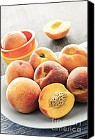 Pit Canvas Prints - Peaches on plate Canvas Print by Elena Elisseeva