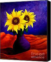 Purple Artwork Special Promotions - Sunflowers Canvas Print by Annie Zeno