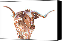 "\\\""texas Artist\\\\\\\"" Canvas Prints - The Original Texas Longhorn Canvas Print by Kathleen McElwaine"