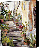 Melinda Saminski Canvas Prints - Tuscan Steps Canvas Print by Melinda Saminski