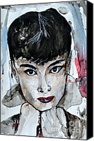 Famous Mixed Media Canvas Prints - Audrey Hepburn - Abstract Art Canvas Print by Ismeta Gruenwald
