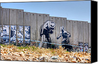 David Birchall Canvas Prints - Bethlehem Separation Wall Canvas Print by David Birchall