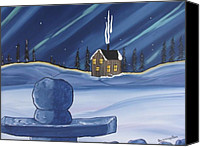 Winter Prints Canvas Prints - Inukshuk Canvas Print by Beverly Livingstone