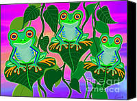 Nick Gustafson Canvas Prints - 3 Little Frogs On Leafs Canvas Print by Nick Gustafson