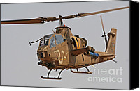 Featured Canvas Prints - An Ah-1s Tzefa Attack Helicopter Canvas Print by Ofer Zidon