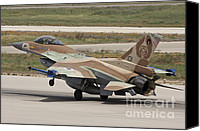 Featured Canvas Prints - An F-16c Barak Of The Israeli Air Force Canvas Print by Ofer Zidon