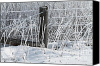 Rural Scenes Canvas Prints - Hoar Frost on the Fence Canvas Print by J McCombie