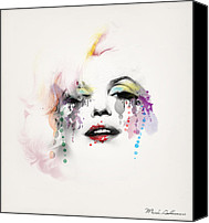 Rainbow Tapestries Textiles Canvas Prints - Marilyn Monroe Canvas Print by Mark Ashkenazi