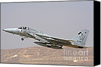 Featured Canvas Prints - An F-15c Baz Of The Israeli Air Force Canvas Print by Ofer Zidon