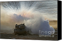 Featured Canvas Prints - An Israel Defense Force Merkava Mark Ii Canvas Print by Ofer Zidon