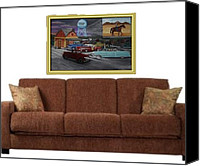 Drive-in Movie Painting Canvas Prints - 50s Drive In. Canvas Print by Larry Lamb