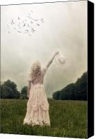 Waving Canvas Prints - Girl On Meadow Canvas Print by Joana Kruse