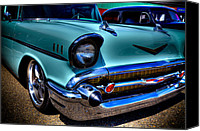 Custom Grill Canvas Prints - 1957 Chevy Bel Air Canvas Print by David Patterson