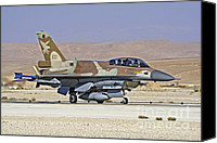 Featured Canvas Prints - An F-16d Barak Of The Israeli Air Force Canvas Print by Ofer Zidon