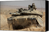 Featured Canvas Prints - An Israel Defense Force Merkava Mark Iv Canvas Print by Ofer Zidon