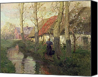 Featured Canvas Prints - A French river landscape with a woman by cottages Canvas Print by Fritz Thaulow