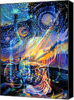 Frederick Luff Canvas Prints - A Moonlight Serenade  Canvas Print by Luff  Gallery