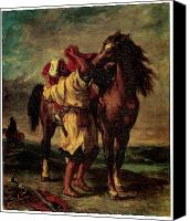 Moroccan Painting Canvas Prints - A Moroccan Saddling a Horse Canvas Print by Eugene Delacroix