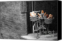 Italian Bakery Canvas Prints - A Painting Bread Bike in italy Canvas Print by Mike Nellums