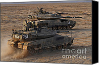 Featured Canvas Prints - A Pair Of Israel Defense Force Merkava Canvas Print by Ofer Zidon