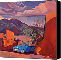 Taos Canvas Prints - A Teal Truck in Taos Canvas Print by Art West