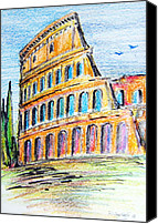 Ruins Drawings Canvas Prints - A view of the Colosseo in Rome Canvas Print by Roberto Gagliardi