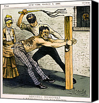 Beaters Canvas Prints - A WHIPPING POST for WIFE BEATERS   1883 Canvas Print by Daniel Hagerman