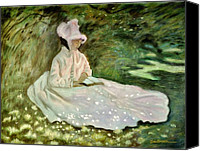 Reading Pastels Canvas Prints - A Woman Reading Canvas Print by Wade Starr
