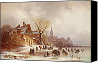 Ice Figures Canvas Prints - A wooded landscape with numerous figures Canvas Print by Anton Doll