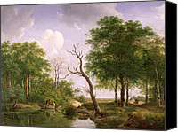 Featured Canvas Prints - A wooded river landscape with sportsmen in a rowing boat Canvas Print by Andreas Schelfhout