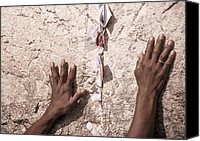 Hands Glass Special Promotions - About the Western Wall Canvas Print by Sergey Simanovsky